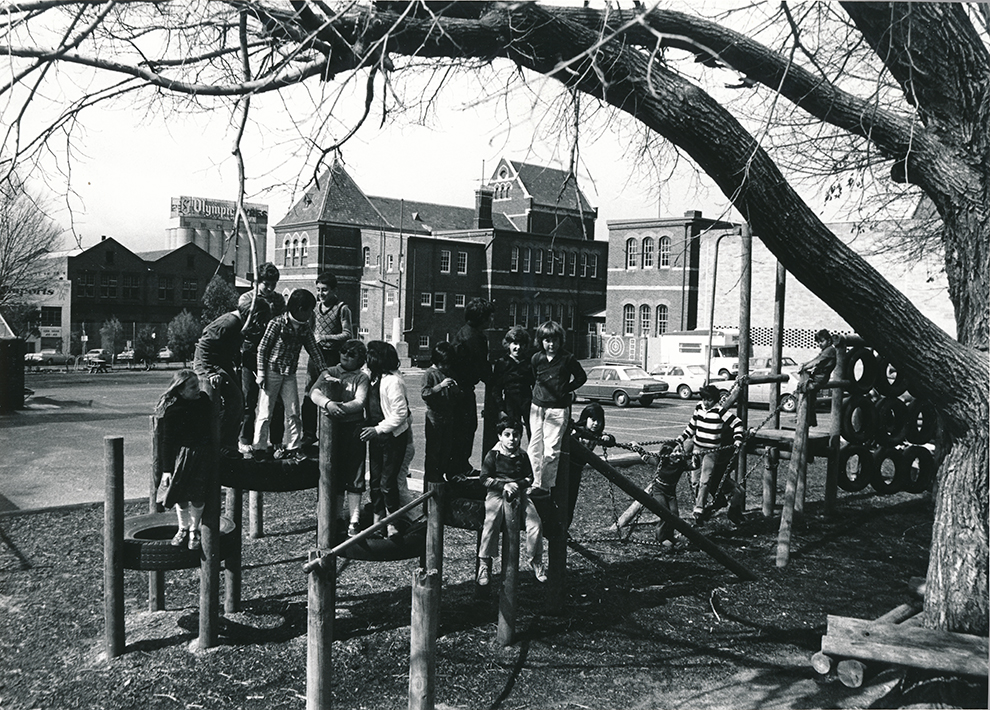 Cambridge Street primary school children at play, Collingwood, 1980s. <i>Photographer unknown.</i> Yarra Libraries, CL PIC 190.