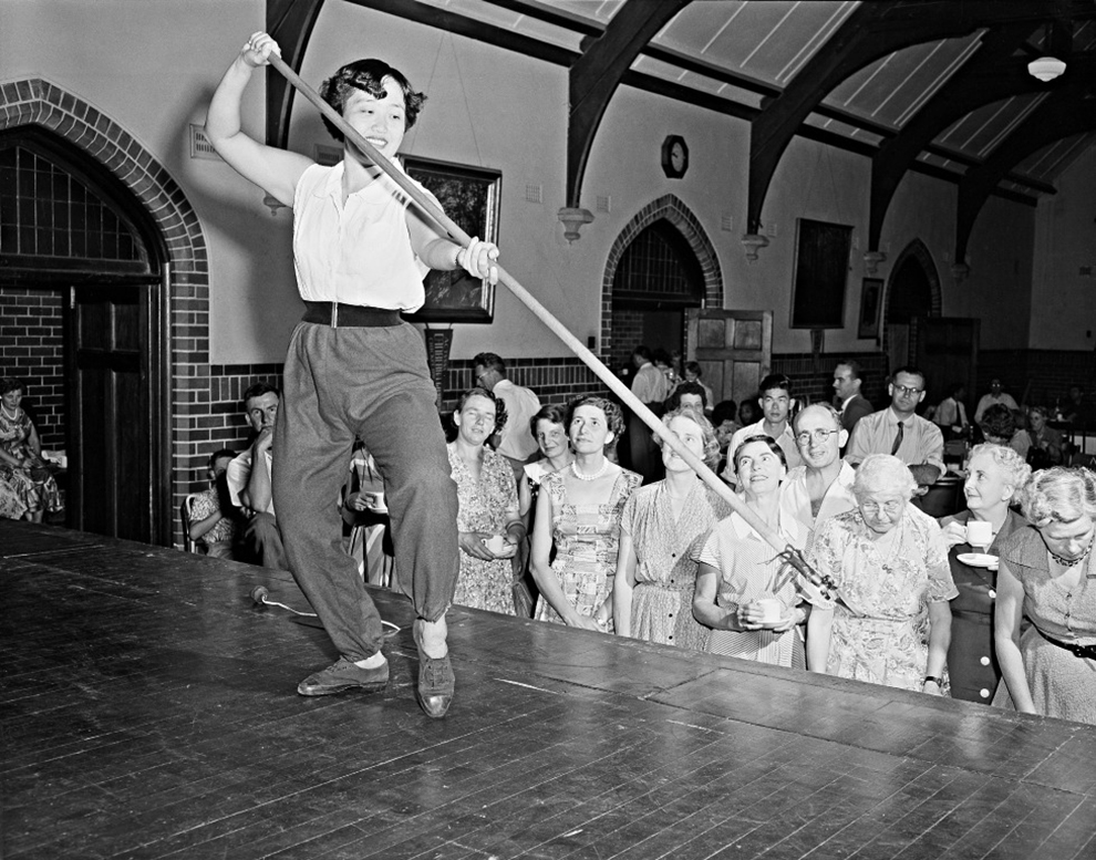 Miss Hanie Lie An Lie from Indonesia, demonstrates the Hwa Djang art of self-defence, New Education Fellowship Summer School, Canberra, 1956. National Archives of Australia, A1501, A256/2